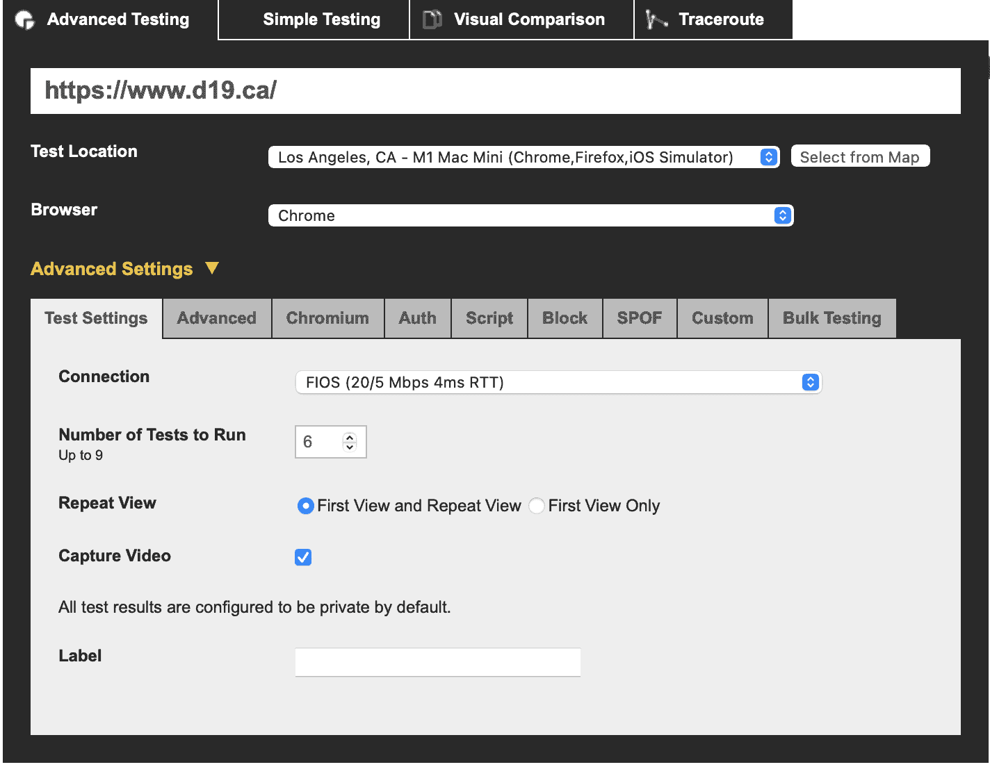 WebPageTest connection settings